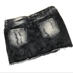 Rue 21 Distressed Black Mini Skirt Size 5/6